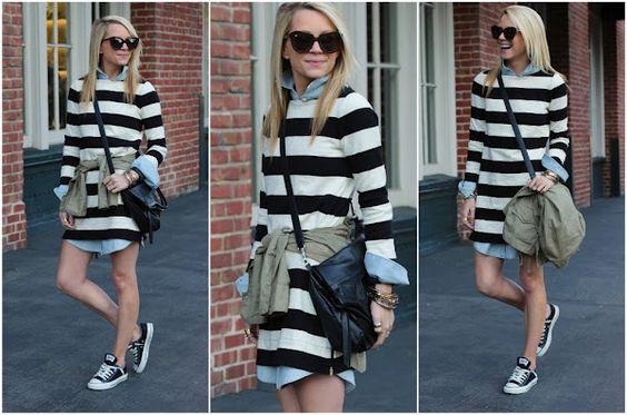 Stripe Dress: Jcrew. Chambray Dress: Jcrew Outlet (similar here). Jacket: GAP (old). Shoes: Converse. Bag: Foley+Corinna (last seen here). Sunglasses: Karen Walker. Jewelry: David Yurman, Jcrew, Pomellato, GAP, BR, Max&Chloe.