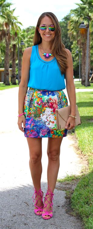 J's Everyday Fashion: Floral skirt in a colorful outfit idea