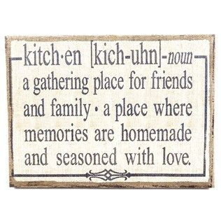 "Create a loving, welcoming environment in everyone's favorite room - the kitchen! - with this Kitchen Definition Burlap Sign. This shabby-chic sign features a burlap-covered canvas with a painted center. A fun definition makes the piece quirky, playful and inviting! Pull together your country kitchen theme with this simple sign.    	     	Dimensions:    	  		Length: 15 1/4""  	  		Width: 20 3/4""  	  		Thickness: 1 1/4""      	     	Hanging Hardware:    	  		2 - Sawtooth Hangers (17 5/8"" from…"