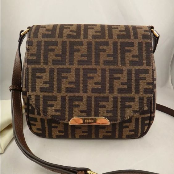Nwt Fendi Bag Nwt Fendi Zucca Monogram Canvas Brown Leather Ff Logo