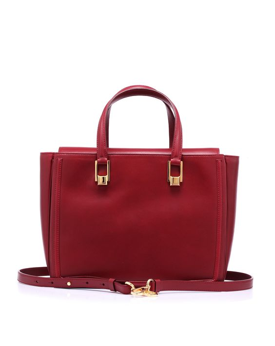 Shopping with leather handle and detachable shoulder strap hooked on the top of the bag by #EmanuelUngaro