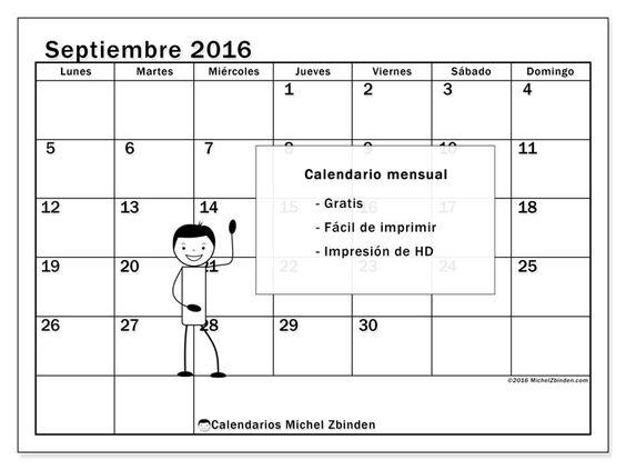 """Calendario """"Tiberius (L)"""" septiembre 2016 para imprimir"""