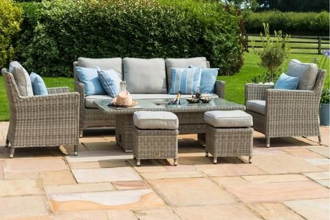 Maze Rattan Oxford Sofa Dining Set With Ice Bucket And Rising