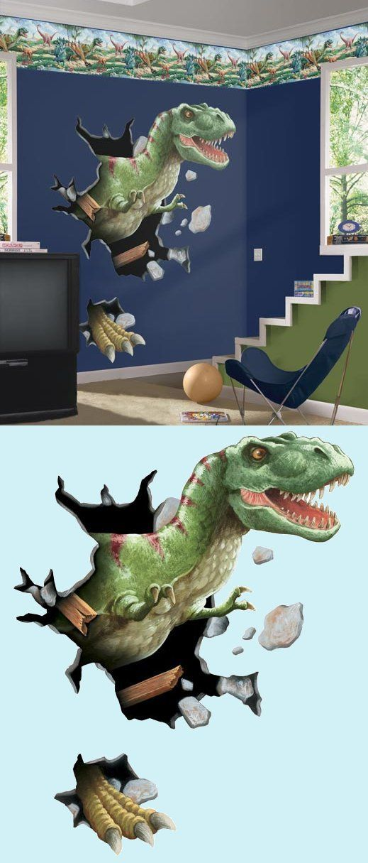 T rex through the wall peel and stick mural kids for Dinosaur mural ideas