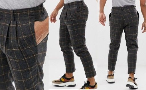 F6f102 Spodnie Meskie Materialowe Krata W34 V01 8332298581 Oficjalne Archiwum Allegro Parachute Pants Harem Pants Pants