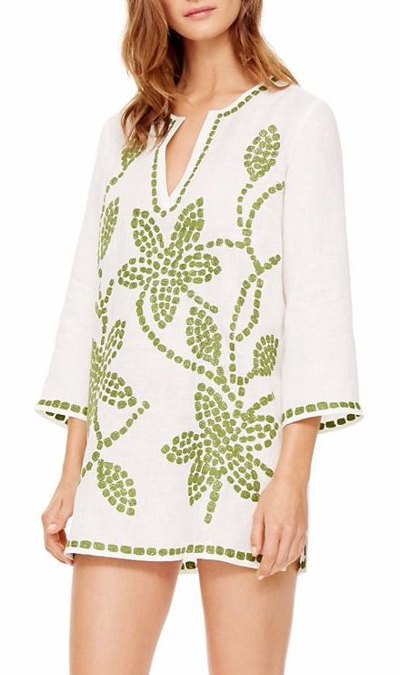 Embroidered Green and White Linen Tunic
