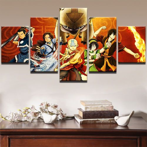 5pcs Avatar The Last Airbender Anime Painting Canvas Wall Art Poster Home Decor Movie Wall Art Customized Canvas Art Canvas Wall Decor