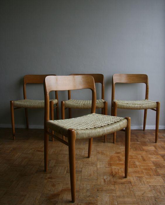 niels o moller - chaises danoise en teck blond et corde tressée d ... - Chaise Corde Tressee