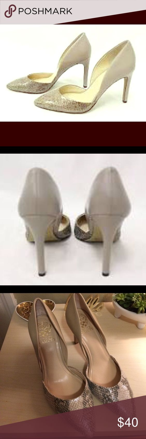 Vince Camuto Dessy Heels Vince Camuto 'Dessy' taupe metallic leather snakeskin stiletto heels. Size 8. Brand new. Never worn. Vince Camuto Shoes Heels