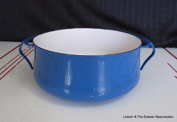 Vintage Dansk Kobenstyle Enamelware 5 Quart Stock Pot Dutch Oven Blue France