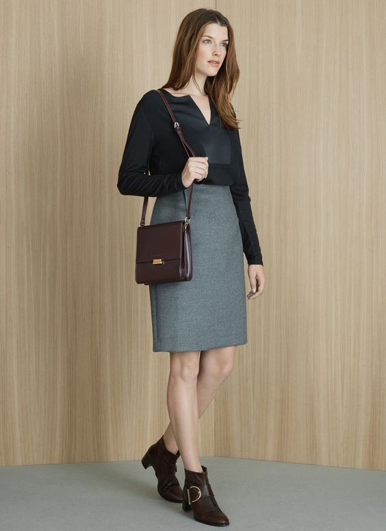 Falda recta de lana