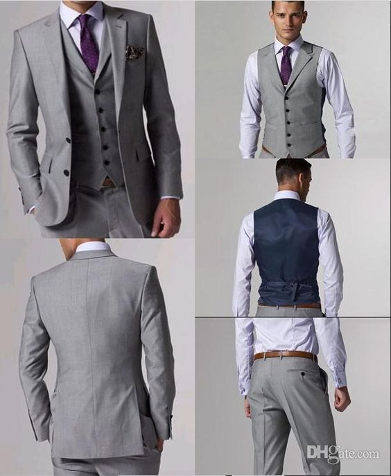 Custom Made Side Vent Groom Tuxedos Light Grey Best man Suit Notch