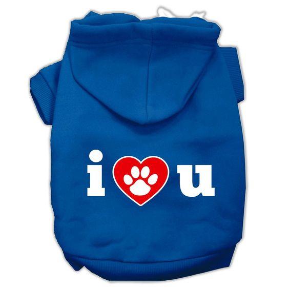 I Love U Screen Print Pet Hoodies Blue Size XXL (18)