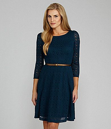 London Times Woman Belted Lace Dress | Dillards.com