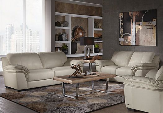 Delicieux Cindy Crawford Home Grand Palazzo Beige Leather 3 Pc Living Room Find  Affordable Leather Living Rooms For Your Home That Will