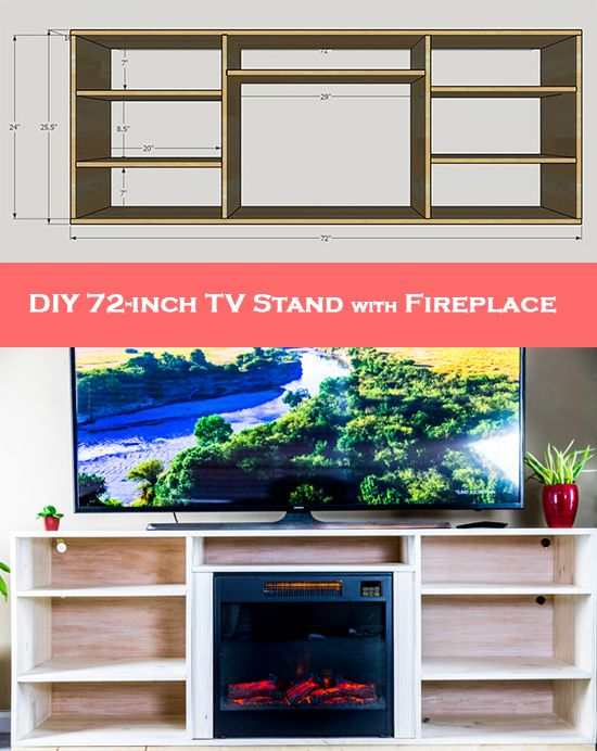 Simple Diy Tv Stand How To Make Your Own 72 Stand With Fireplace Fireplace Tv Stand Diy Diy Tv Stand Fireplace Tv Stand