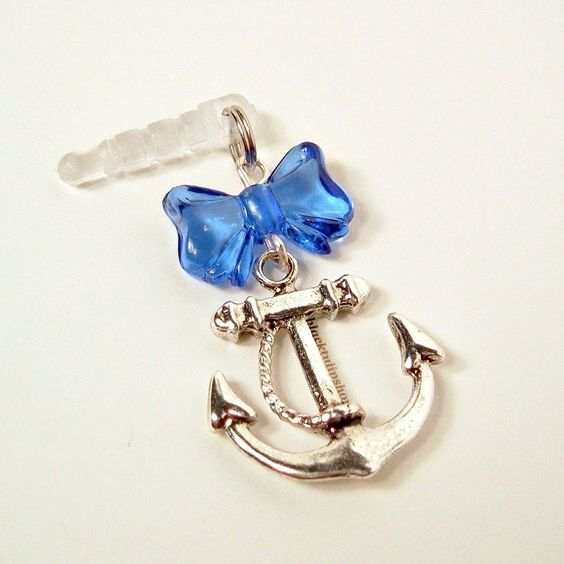 Cell Phone Charm Plugs | Cell Phone Charm Dust Plug Earphone Retro Nautical Sailor Girl Anchor ...