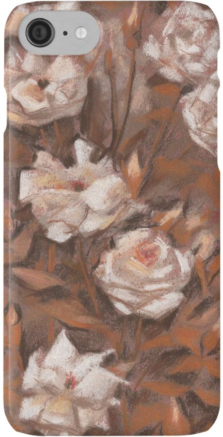 """""""White roses, floral pattern, earth shades"""" iPhone Cases & Skins by clipsocallipso 
