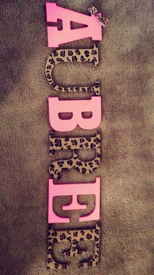 Pink and leopard nursery letters