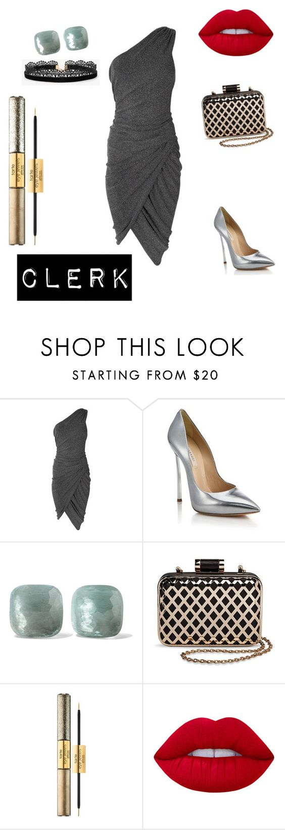 """clerk"" by anjola112 on Polyvore featuring Casadei, Pomellato, Tevolio, tarte, Lime Crime and Azalea"