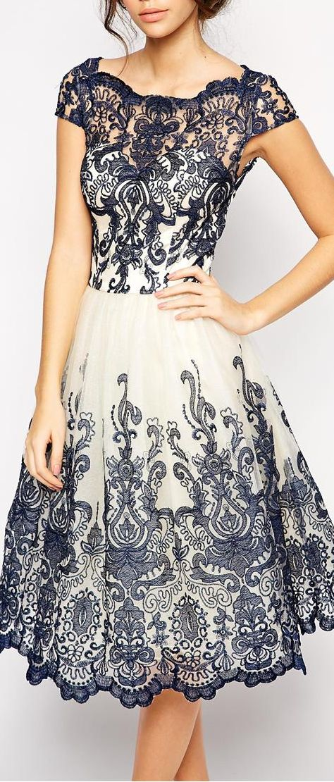 Embroidered dress black and white lace...this is so pretty! Even I would wear it lol
