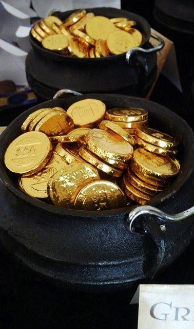 Gringott's Gold Chocolate Galleons in Cauldrons