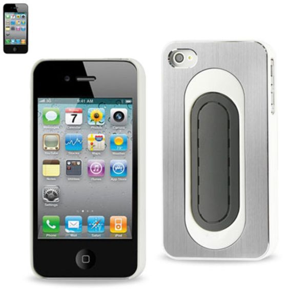 Reiko Metallic Protector Cover Bend Back Viewing Stand Iphone4S White