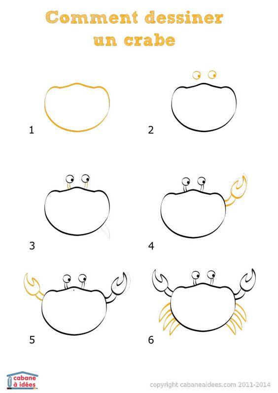 Comment dessiner un crabe comment bricolage et crayons - Comment dessiner des animaux facilement ...