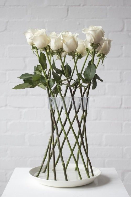 rown Vase By Lambert Rainville It Arranges Roses in vase. | minimalistically gorgeous is this white rose wedding centrepiece | These 20 Unique Floral Centrepiece Ideas Are Irresistibly Screenshot-Worthy! | Function Mania