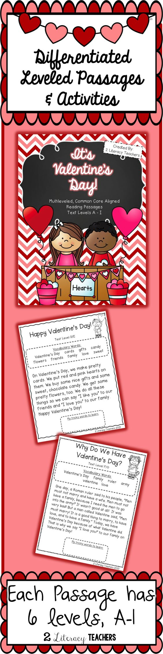 Worksheet Levelled Reading Passages valentines day passages ccss aligned leveled reading and activities a i two are included each