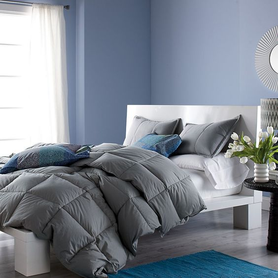 Fluffy Grey Duvet With Colorful Pillows And Patterned