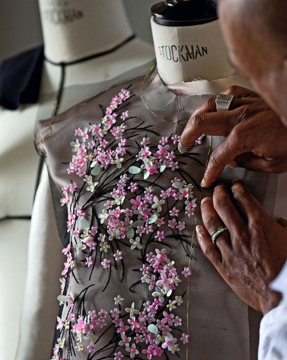 Fashion Atelier - haute couture embroidery for a floral embellished dress; fashion studio // Christian Dior: