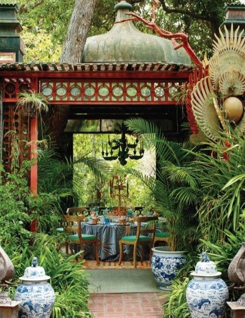 This luscious space was created by Tony Duquette ! I can see us having a tropical dinner here.