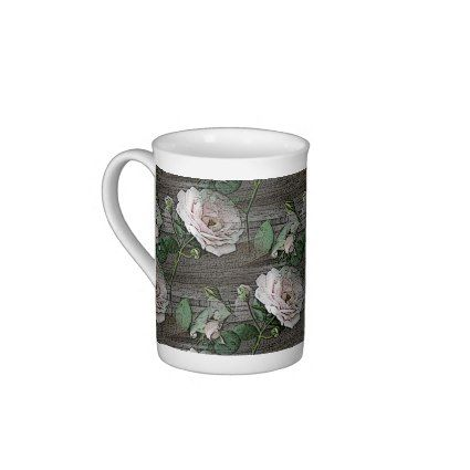 New Design - Roses on Weathered Wood Porcelain Mugs