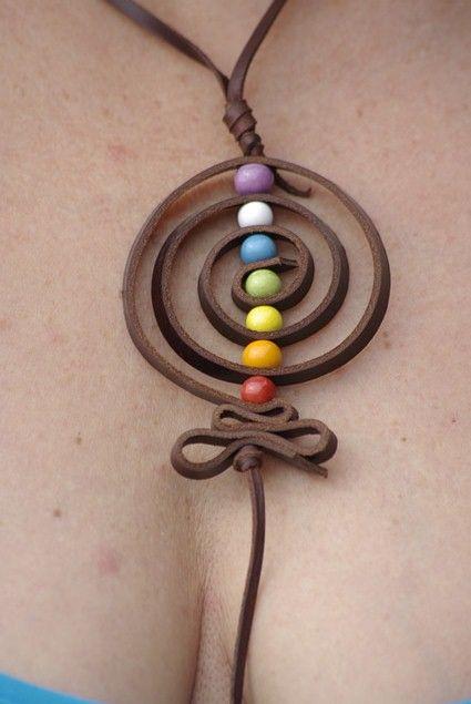 Collar de cuero amuleto de los 7 chakras bijou pinterest diy and crafts 7 chakras and collars - Collares de cuero ...