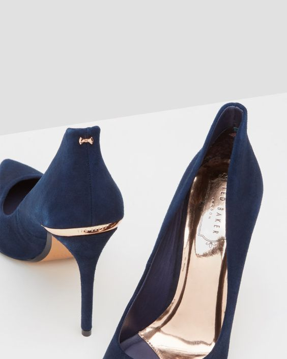 Pointed suede court shoes - Dark Blue | Shoes | Ted Baker