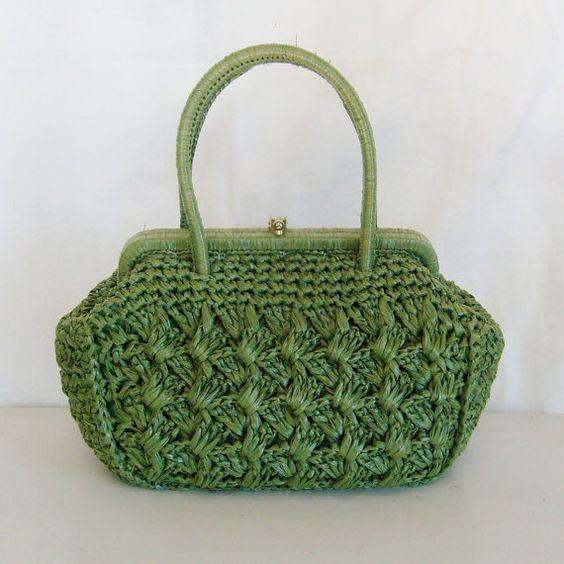 replica handbag manufacturers - Vintage handbag straw raffia green Babette made in Japan woven ...