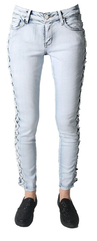 Sexy Women s Denim mid Rise Skinny Jeans side Cut with Lace Trousers Size 6-14