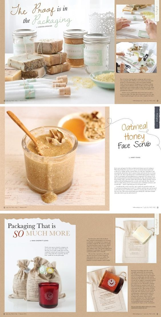 Delicious-looking spreads from Willow and Sage: oatmeal honey face scrub, and packaging for candles, bath salts, and soaps!
