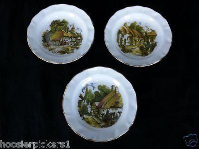 "Duchess set of 3 Bread Plates Houses Fine Bone China Decorator plates 4 3/4"" L*"