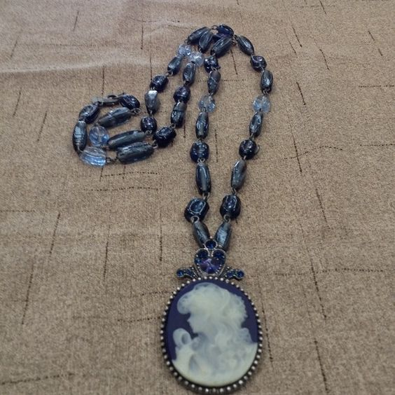 Worthington Cameo Necklace #141 Beautiful  faux cameo of a woman on blue with rhinestone. On a long glass beaded necklace Worthington Jewelry Necklaces