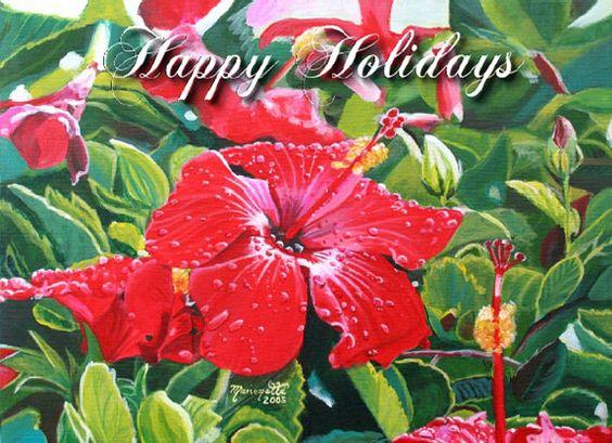 Christmas Card Happy Holidays Printable DIY  Red Hibiscus card 5x7 Kauai Hawaii $3.00