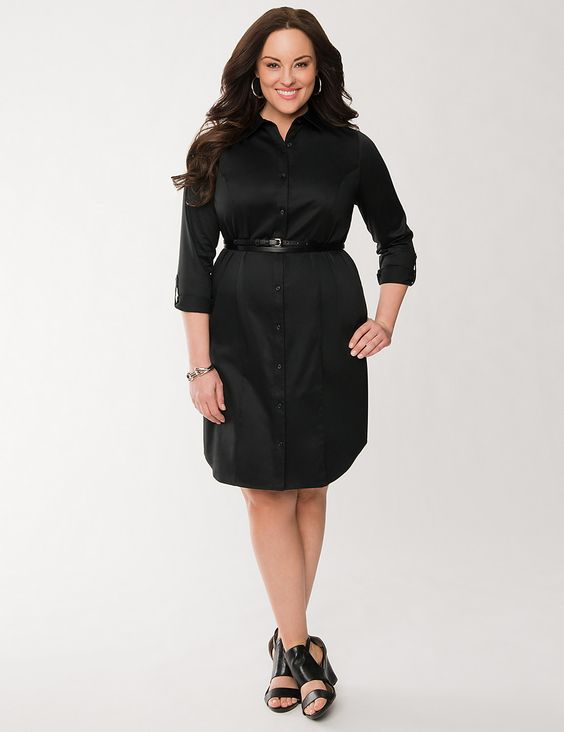 Plus Size Sateen Shirt Dress by Lane Bryant