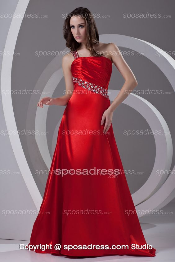 Ruffled one shoulder prom dresses