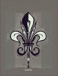 Fleur de Lis 12. 3 Colors 8.5x11 art print on Construction - Charcoal Brown French Paper.