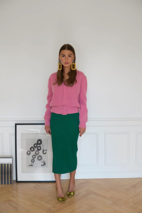 bubble gum pink and emerald green are a great color combo for a outfit. color blocking. spring wear. office wear.