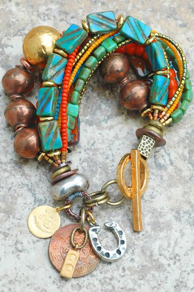 Bracelet | Charm | Copper | Blue | Orange | Luck | Glass | XO Gallery