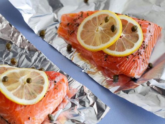 Salmon with lemon, capers and rosemary.: