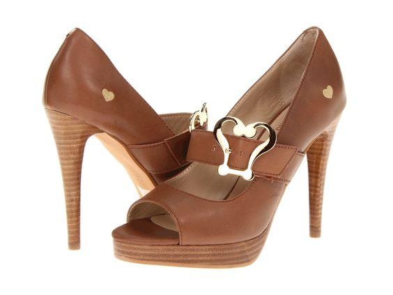 brown peep toe shoe #prom