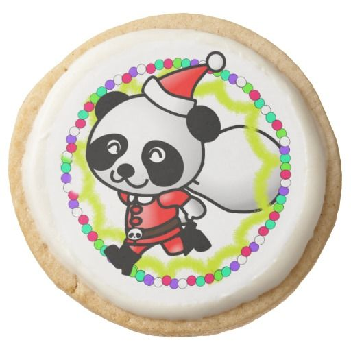 Cute #Christmas Santa #Panda Bear with Bag of Toys Round Premium Shortbread Cookie by #I_Love_Xmas